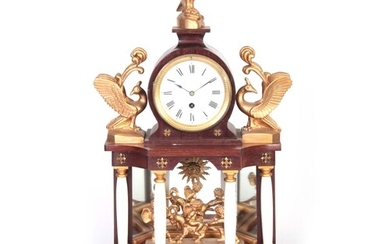 A LATE 19TH/EARLY 20TH CENTURY AUSTRIAN MANTEL CLOCK surmoun...