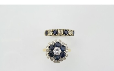 A Ladies, Sapphire and Diamond Cluster Ring, Mounted with a ...