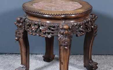 A Late 19th Century Chinese Rosewood Circular Jardiniere Stand,...