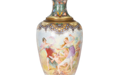 A MONUMENTAL ORMOLU-MOUNTED SEVRES STYLE VASE, CH. FUCHS, LATE 19TH-EARLY 20TH CENTURY