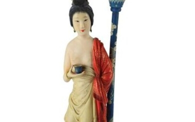 A PAINTED CARVING OF A FIGURE OF A LADY MOUNTED AS A LAMP