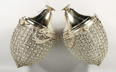 A PAIR OF LARGE, SILVER PLATED PINEAPPLE SHAPED