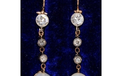 A PAIR OF NATURAL PEARL AND DIAMOND EARRINGS, MOUNTED IN SIL...
