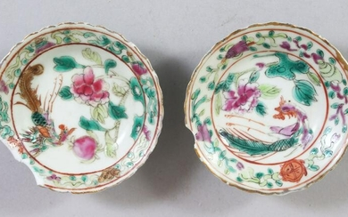A PAIR OF SMALL CHINESE FAMILLE ROSE NONYA PORCELAIN