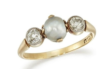 A PEARL AND DIAMOND RING The 6.18mm pearl, bordered by