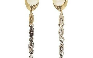 A Pair Of White Gold And Cultured Pearl Earclips