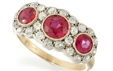 A RUBY AND DIAMOND CLUSTER RING, three graduated