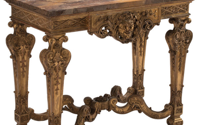 A Regence Carved Gilt Wood Console Table with Marble Top