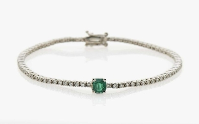 A Rivière brilliant cut diamond bracelet with a