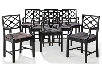 A SET OF EIGHT EBONISED ARMCHAIRS, MODERN