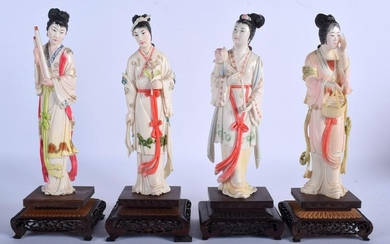 A SET OF FOUR EARLY 20TH CENTURY CHINESE PAINTED BONE