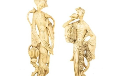 A. Santini Resin Composite Chinese Figural Sculptures