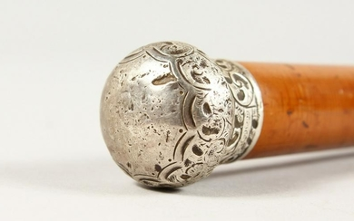 A VICTORIAN SILVER HANDLED CANE. 2ft 11ins long.