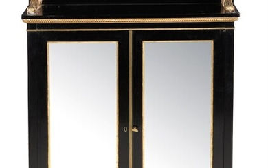 A Victorian ebonised and parcel gilt side cabinet