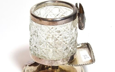 A Victorian silver mounted cut glass cigarette vase, probably by...