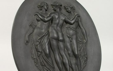 A WEDGWOOD BLACK BASALT OVAL PLAQUE, three classical
