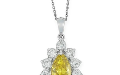 A YELLOW DIAMOND AND DIAMOND PENDANT set with a pear