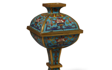 A cloisonné square sectioned vase and cover, fang dou