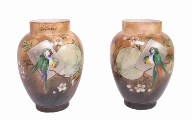 A couple of opaline vases