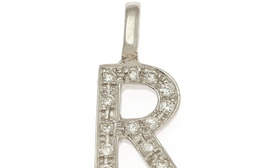 "A diamond pendant in shape of the letter ""R"" set with numerous brilliant-cut diamonds, mounted in 14k white gold. L. incl. eye-let 1.8 cm."