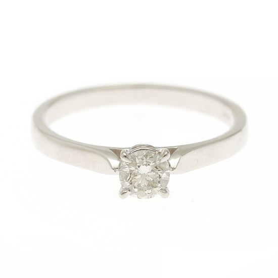 A diamond solitaire ring set with a brilliant-cut diamond, app. 0.40 ct., mounted in 18k white gold. I/SI1. Size 55.