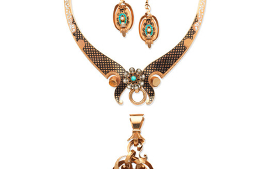 A gold, enamel, turquoise and seed pearl necklace, pendant and pendent earring suite