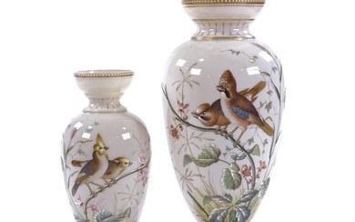 A graduated pair of Victorian milk glass vases, with hand pa...