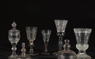 A group of cut and engraved goblets and drinking glasses, Various dates, late 17th and 18th centuries