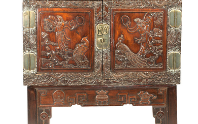 A hongmu 'ladies' large cabinet together with associated stand