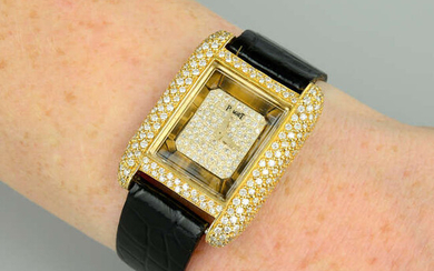 A lady's mid 20th century pave-set diamond and tiger's-eye watch, by Piaget.