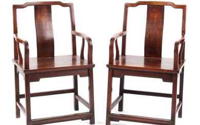 A pair of 19th century Chinese hongmu throne chairs,...