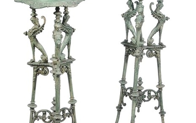 A pair of French cast iron and green enamel low torcheres in early 19th Century style
