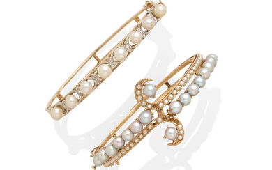 A pair of cultured pearl bracelets