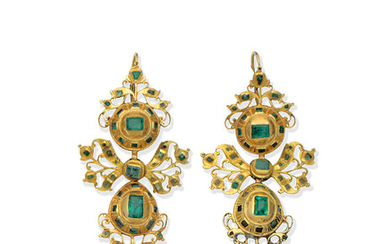A pair of emerald pendent earrings, probably Iberian, early 18th century