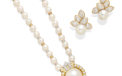 A pearl and diamond necklace together with a pair of pearl and diamond ear clips