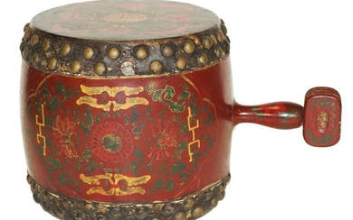 AN ANTIQUE CHINESE HAND-PAINTED CEREMONIAL DRUM, 20TH