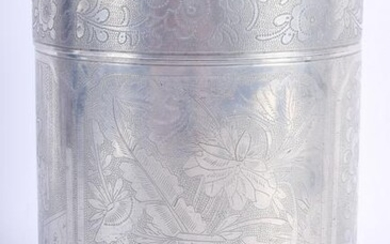 AN EARLY 20TH CENTURY CHINESE PEWTER TEA CADDY AND