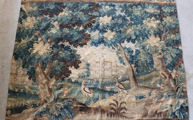 "AUBUSSON XVIIIth : Piece of Tapestry ""Verdure"", cut, lack of borders, Dim : 233 x 233 (wear, state of use, seam in the center)"