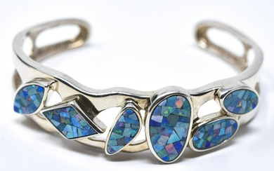 Abstract Design Sterling Opal Mosaic Cuff Bracelet