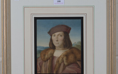 After Raphael - Young Man with an Apple, 19th century watercolour, 19.5cm x 16cm, within a gilt fram