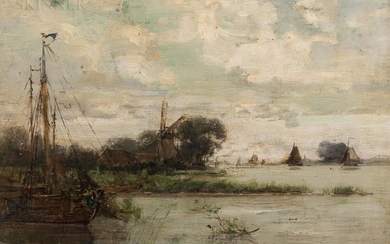 American School, 19th/20th Century Marshy Coast with Windmill and Vessels