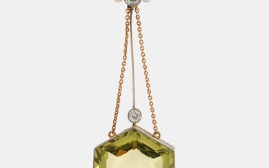 An 18K gold and platinum pendant set with a faceted beryl, old-cut diamonds and pearls