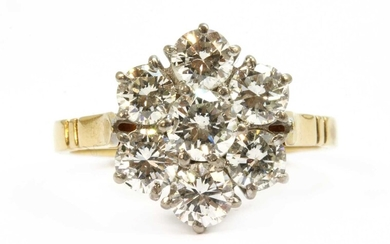 An 18ct gold diamond daisy cluster ring