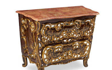 An Italian Rococo style Chinoiserie decorated mirror mounted commode