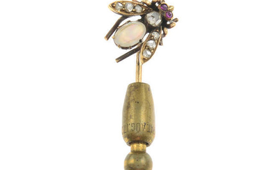 An early 20th century gold opal, diamond and ruby bee stickpin.