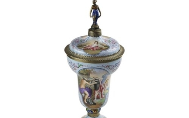 An enamel & silver gilt mounted covered cup. The lid with a ...