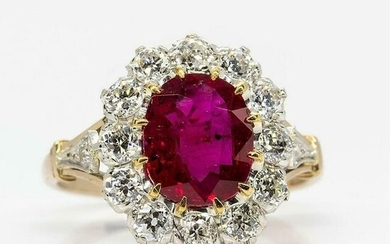 Antique 18k Gold & Platinum Gia Certified Ruby and