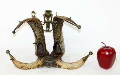 Antique Anglo-Indian horn inkwell with candle holder