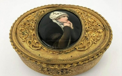 Antique Bronze Box With A Porcelain Plaque
