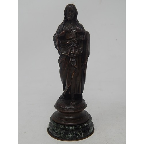 Antique Bronze Figure of Jesus on Circular Marble Base: Heig...